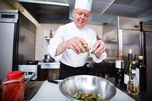 Cuisson garnir image Homme salade Photo stock © pressmaster