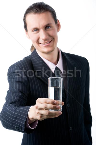 Water portret gelukkig man glas Stockfoto © pressmaster