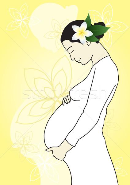ストックフォト: 小さな · 将来 · 母親 · 美しい · 花 · 髪