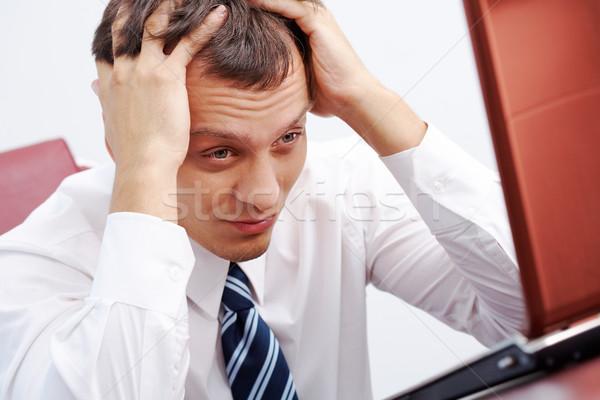 Foto stock: Difícil · tarefa · retrato · inteligente · empresário · pensando
