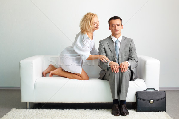 Pihen szexi szőke nő megérint férfi nő Stock fotó © pressmaster