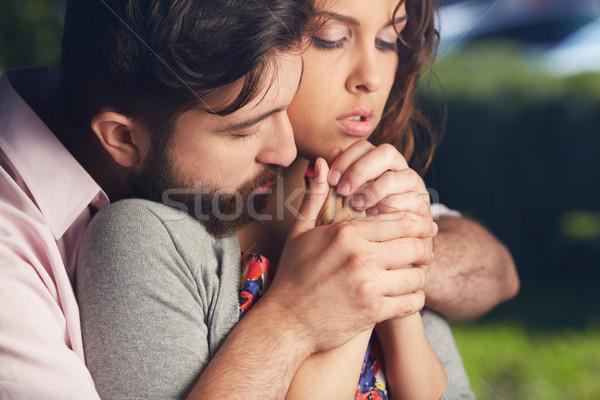 Intimitás kép szeretetteljes férfi tart barátnő Stock fotó © pressmaster