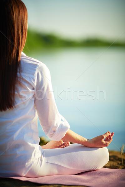 Yalnızlık yarım geri meditasyon kadın rahatlatıcı Stok fotoğraf © pressmaster