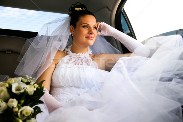 Bride in car Stock photo © pressmaster
