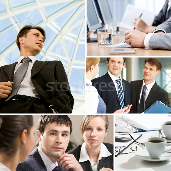Foto stock: Negócio · momentos · colagem · trabalhando · equipes · objetos