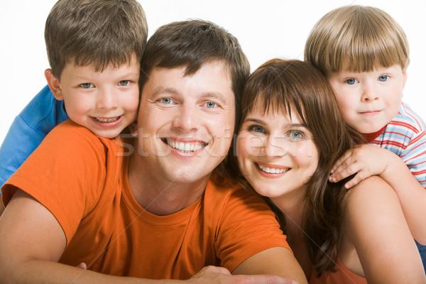 Zdjęcia stock: Portret · radosny · rodziny · śmiechem · patrząc