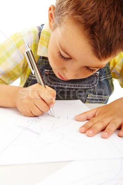молодые художник портрет мало мальчика рисунок Сток-фото © pressmaster
