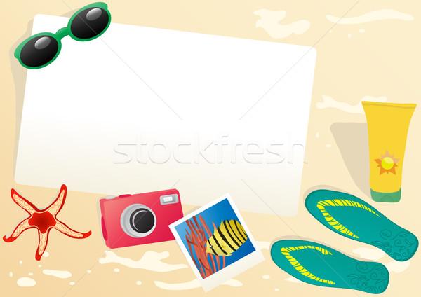 Stok fotoğraf: Kâğıt · güneş · gözlüğü · kamera · fotoğraf · denizyıldızı · krem