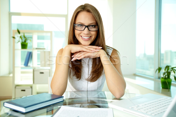 Business lady in eyeglasses Stock photo © pressmaster