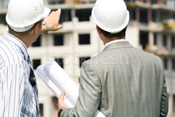 Stock photo: Backs of workers
