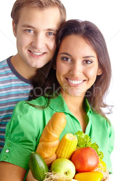 Stock fotó: Egészséges · étel · boldog · egészséges · étkezés · néz · kamera · mosoly