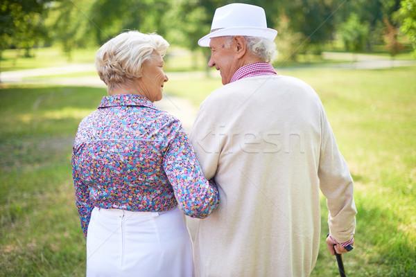 Foto d'archivio: Anziani · piedi · vista · posteriore · felice · parlando