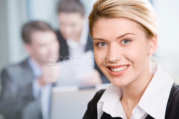 Stockfoto: Gelukkig · vrouw · aantrekkelijk · gezicht · business