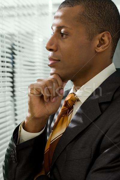 Mögött redőny komoly üzletember néz iroda Stock fotó © pressmaster