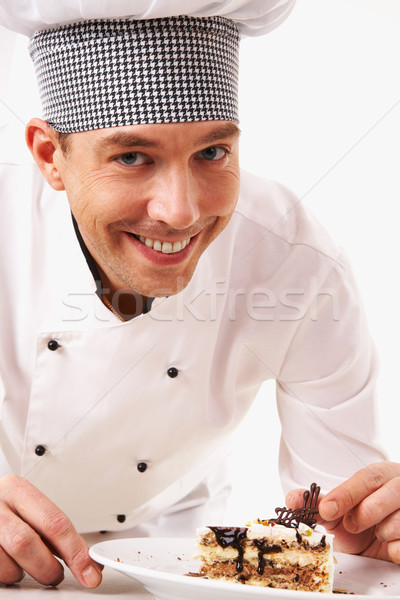 Zdjęcia stock: Gotować · ciasto · portret · przystojny · mężczyzna · uniform · patrząc