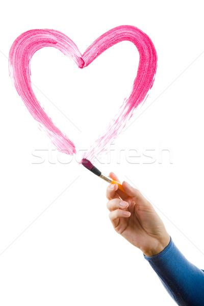 Schilderij hart afbeelding vrouwelijke hand borstel Stockfoto © pressmaster