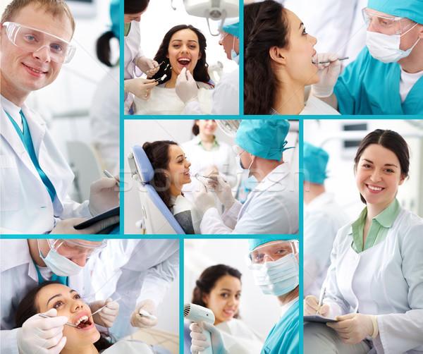 Dentysta pacjenta medycznych kolaż zdjęć stomatologia Zdjęcia stock © pressmaster
