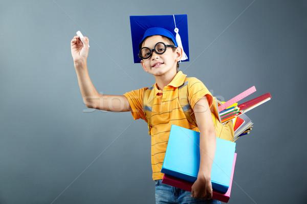 Foto stock: Elementar · estudante · retrato · feliz · mochila