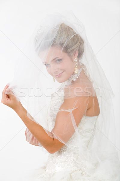 Naar sluier portret gelukkig bruid camera Stockfoto © pressmaster