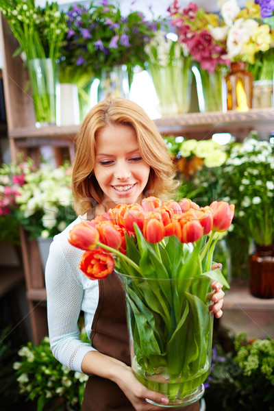 Foto stock: Florista · tulipanes · retrato · jóvenes · femenino