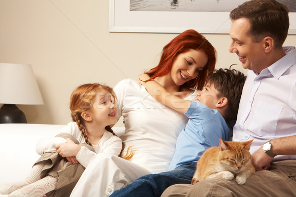 Stockfoto: Hartelijk · familie · foto · cute · jongen