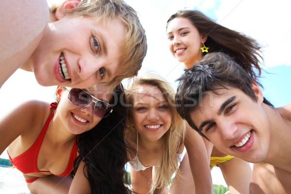 Zdjęcia stock: Grupy · nastolatków · portret · atrakcyjny · patrząc · kobieta