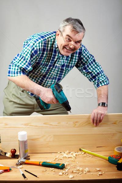 Foto stock: De · trabajo · hombre · altos · perforación · taller