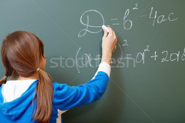 Lezione studente punta formula lavagna algebra Foto d'archivio © pressmaster