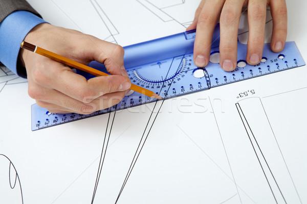 Mérés közelkép férfi kezek készít projekt Stock fotó © pressmaster