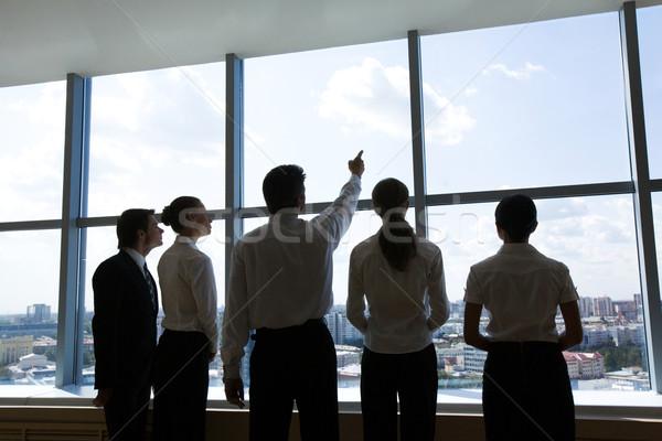 Chef d'équipe vue arrière permanent rangée regarder Photo stock © pressmaster