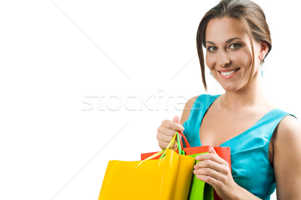 Zdjęcia stock: Szczęśliwy · kobiet · patrząc · kamery