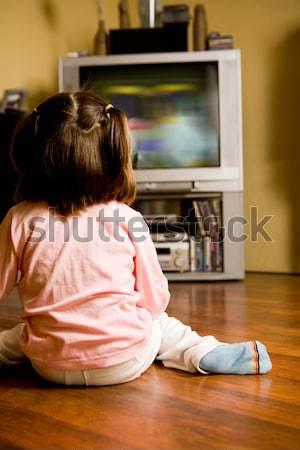 смотрят телевизор вид сзади девочку сидят полу Сток-фото © pressmaster
