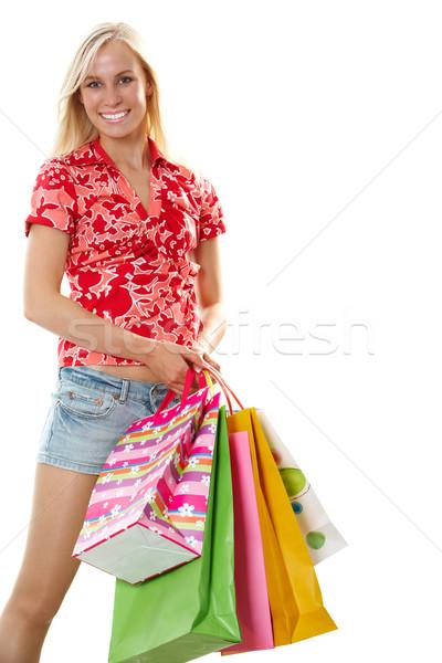 Alışveriş kız portre yalıtılmış beyaz Stok fotoğraf © pressmaster