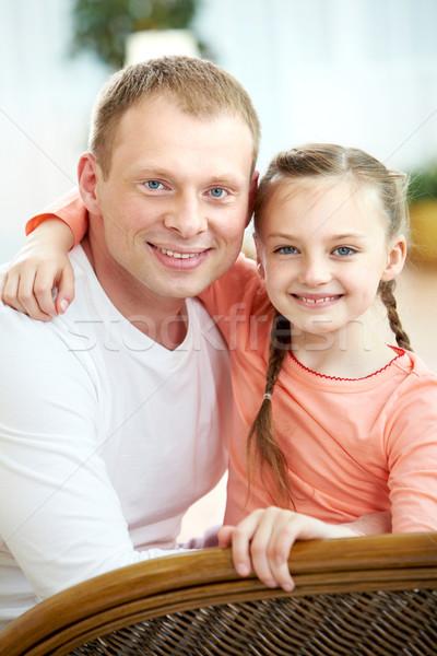 Сток-фото: отец · дочь · портрет · счастливым · оба