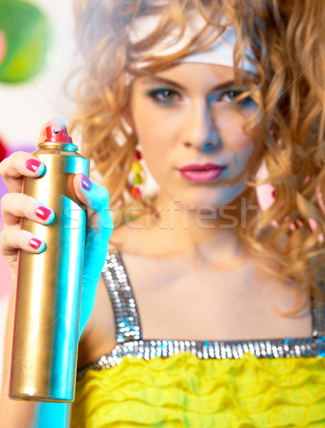 Spraying hair lacquer Stock photo © pressmaster