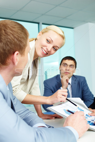 Toelichting moment mooie werkgever ideeën Stockfoto © pressmaster