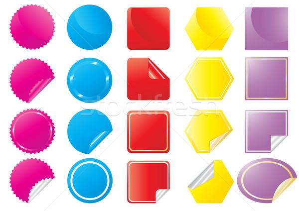 Stock fotó: Szett · fényes · matricák · különböző · formák · papír