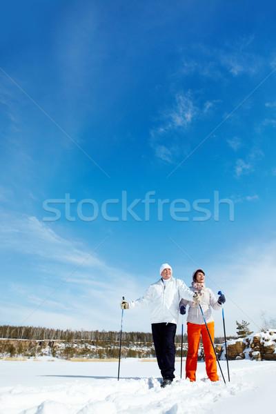 Skiing couple Stock photo © pressmaster