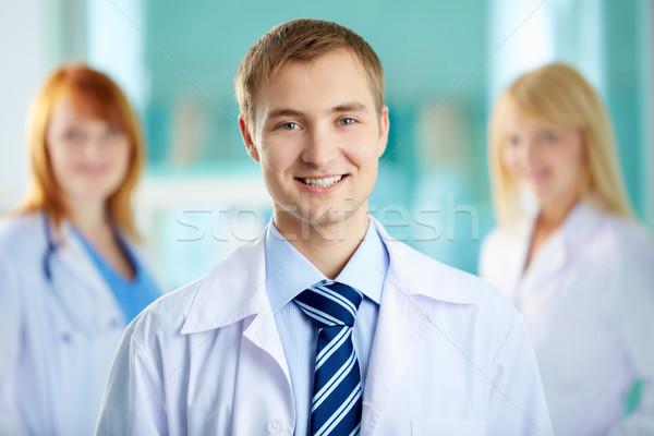 Stock fotó: Boldog · háziorvos · portré · jóképű · orvos · fehér