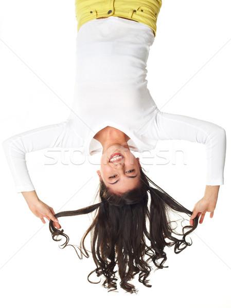 Diversão de cabeça para baixo vertical retrato alegre engraçado Foto stock © pressmaster