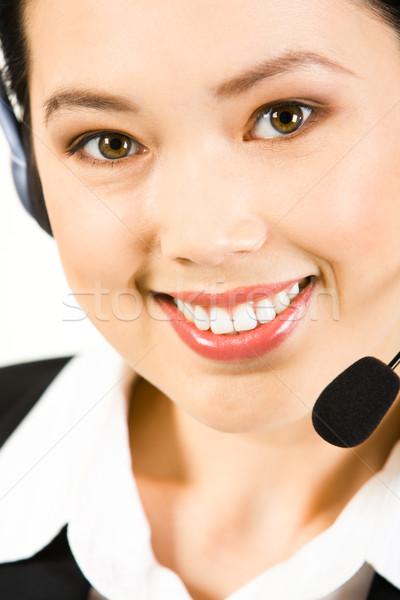 Photo stock: Opérateur · accueillant · belle · sourire · regarder