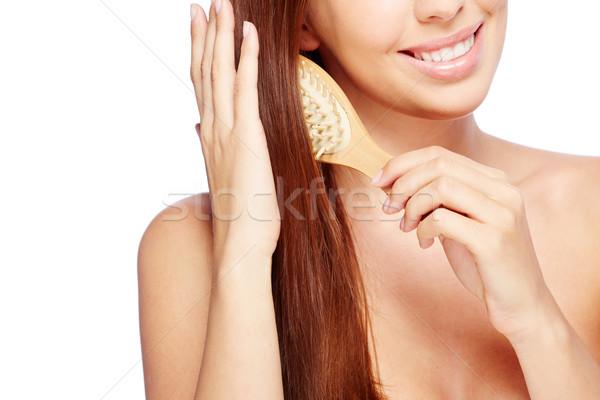 Haarverzorging jonge vrouw gelukkig vrouwelijke persoon glimlachend Stockfoto © pressmaster