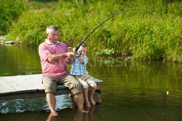 Photo stock: Tige · photo · grand-père · petit-fils · pêche