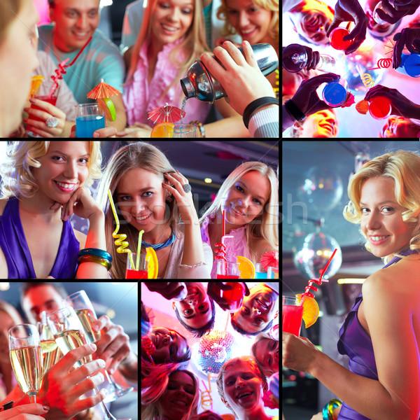 Barátok buli kollázs srácok lányok nagyszerű Stock fotó © pressmaster