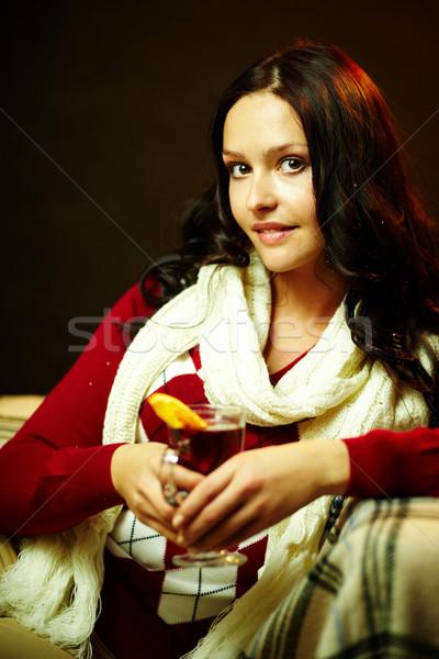 Agradável tempo retrato bastante feminino chá Foto stock © pressmaster