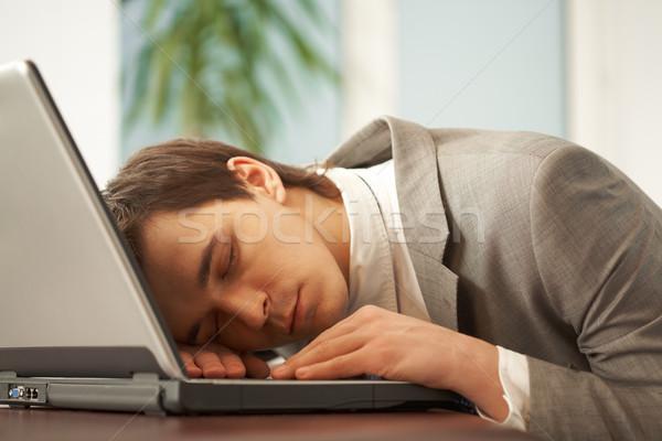 Stock fotó: Nap · alszik · férfi · fej · billentyűzet · laptop
