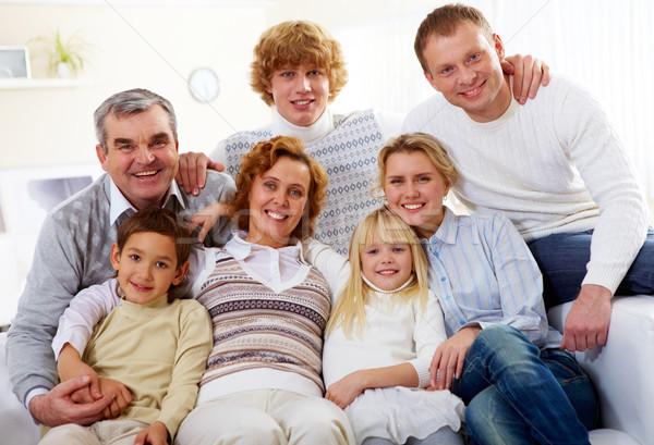 Stock fotó: Nagy · családi · portré · idős · fiatal · párok · gyerekek