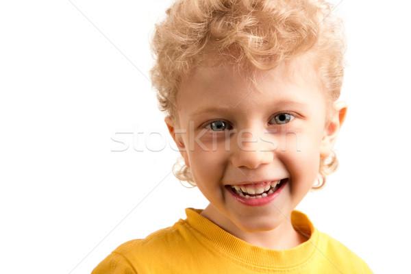 Foto stock: Felicidade · retrato · feliz · rapaz · risonho · branco