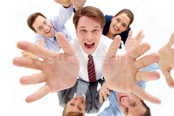 Powyżej widoku szczęśliwy szef kilka partnerów Zdjęcia stock © pressmaster