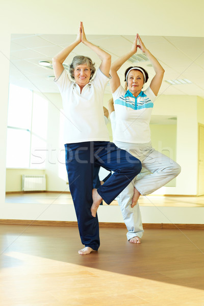 Photo stock: Yoga · pratique · portrait · deux